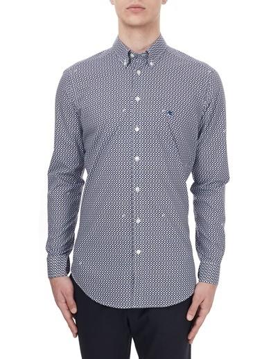 Etro  % 100 Pamuklu Düğmeli Yaka Slim Fit Gömlek Erkek Gömlek 1K964 3345 0200 Lacivert